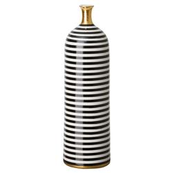 Modern Striped Black Gold Glazed Bottle