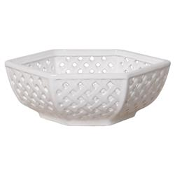 Coastal Trellis White Glazed Ceramic Decorative Bowl