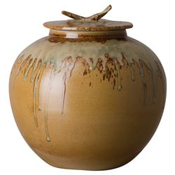 Bazaar Japanese Earth Brown Ceramic Tea Jar - 12H