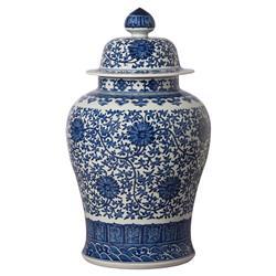 Blue Ceramic Bazaar White Temple Jar - 30H