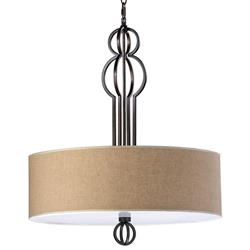 Auburn Elegant Linen Drum Oil Rubbed Bronze Pendant Lamp