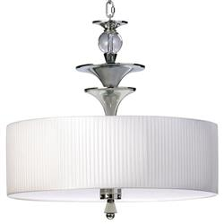 Ratford Silver Clear Glass White Drum Contemporary Pendant Lamp