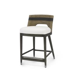 Palecek Fritz Coastal Striped Grey Rope Counter Stool | Kathy Kuo Home