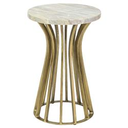 Palecek Delphi Regency Gold Iron Round Marble End Table