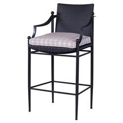 Olivia Black Woven Beige Stripe Outdoor Barstool