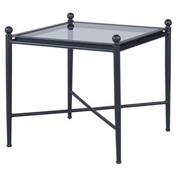 Olivia Four Knob Black Outdoor End Table