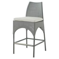 Keenan Contemporary Grey Outdoor Ivory Barstool
