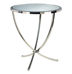 Nuovo Silver Contemporary Mirrored Pedestal Entry Table | CYAN-04457