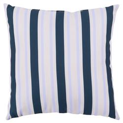 Coastal Pale Blue Navy Stripe Outdoor Pillow - 18x18