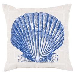 Sea Shell Coastal Grid Outdoor Pillow - 18x18
