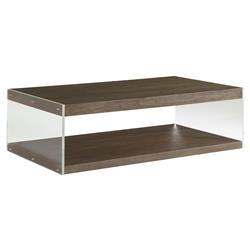Winter Modern Loft Acrylic Teak Rectangular Coffee Table