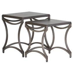 Summer Classics Caroline Black Iron Outdoor Nesting Tables   Pair