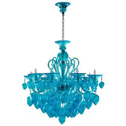 Bella Vetro Light Blue Aqua Murano Glass 8 Light Ornament Chandelier | CYAN-04618