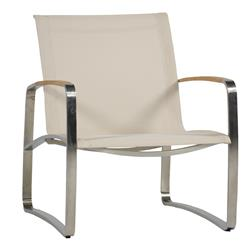 Delray Beige Sling Teak Steel Outdoor Lounge Chair