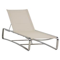 Summer Classics Delray Beige Sling Teak Steel Outdoor Chaise Lounge