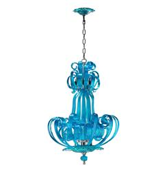 Florence Light Blue Aqua Murano Glass 4 Light Pendant Chandelier