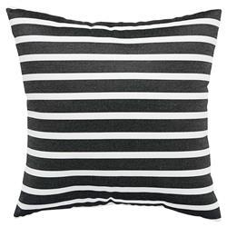 Skinny Stripe Modern Black Outdoor Pillow - 18x18