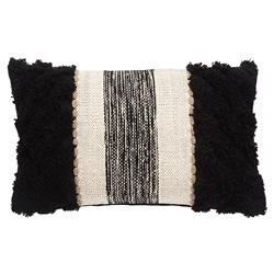 Rustic Lodge Ivory Black Textured Pillow - 12x20