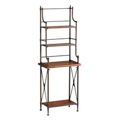 Sydney Industrial Loft Rustic Farmhouse Metal Wood Baker's Rack