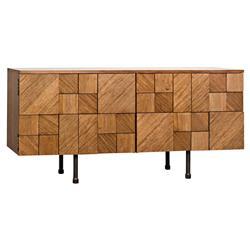 Rodney Modern Classic Pieced Walnut Console Cabinet