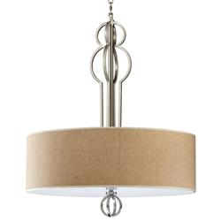 Auburn Elegant Linen Drum Satin Nickel Finish Pendant Lamp | Kathy Kuo Home