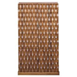 Amir Bazaar Grooved Walnut Wood Hutch Cabinet