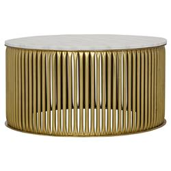 Opher Round Brass White Stone Coffee Table