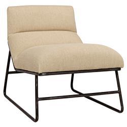 Huey Loft Minimal Beige Linen Armless Chair