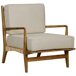 Noir Allister Coastal Beach Beige Cotton Teak Rattan Arm Chair