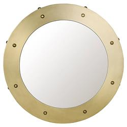 Noir Clay Modern Antique Brass Round Metal Wall Mirror - 26D