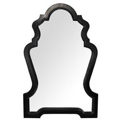 Regency Rubbed Black Queen Anne Mirror