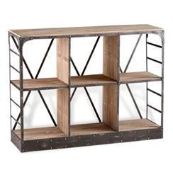 Newberg Industrial Loft Modern Wood Steel Standing Shelf | CYAN-04860