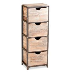 Talford Four Drawer Industrial Iron Wood Tall Storage Shelf