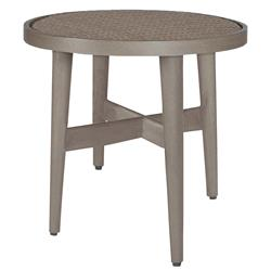 Wind Oyster Grey Wicker Round Outdoor End Table