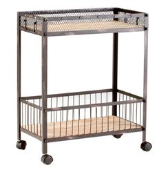 Industrial Loft Raw Steel Reclaimed Wood Iron Serving Bar Cart | CYAN-04870