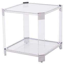 Warren Angled Acrylic Silver End Table
