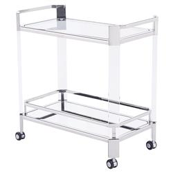 Warren Modern Angled Acrylic Silver Bar Cart