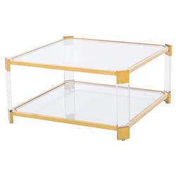 Warren Acrylic  Gold Angle Square Coffee Table