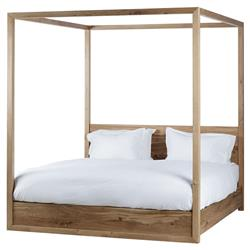 Thomas Bina Otis Coastal Rustic Oak Wood Poster Bed - Queen
