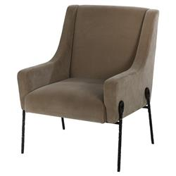 Kelly Hoppen Bailey Regency Taupe Hammered Black Metal Armchair