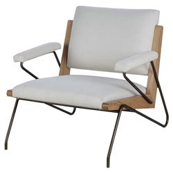 Thomas Bina Marrianne Modern White Bronze Oak Occasional Arm Chair