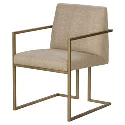 Maison 55 Ashton Mid Century Satin Brass Hemp Armchair