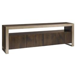 Dresner Industrial Modern Matte Gold Dark Oak Media Cabinet