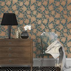 Floral Blue and Gold Hollywood Regency Removable Wallpaper