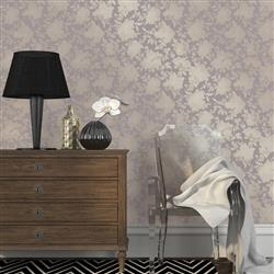 Floral Lavender and Ivory Hollywood Regency Removable Wallpaper