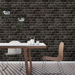 Black and Grey Textured Brick Industrial Loft Removable Wallpaper