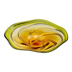 Green Yellow Orange Flower Art Glass Swirl Platter