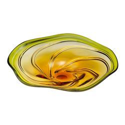 Green Yellow Orange Flower Art Glass Swirl Platter