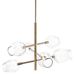 Alana Brass Six Light Modern Chandelier
