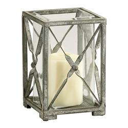 Antique Moss Grey Wash Wrought Iron Square Candle Hurricane - 7 Inch
